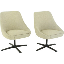 Pair of cocktail swivel chairs in beige fabric - 1960s