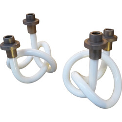 Pair of Pretzels candleholders in lucite, Dorothy THORPE - 1940s