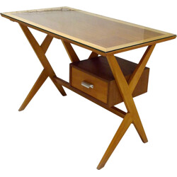 Mid-century desk in beech and teak - 1960s