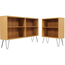 Set of two oak bookcases on metal hairpin legs, Borge MOGENSEN - 1960s