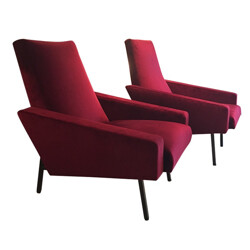 Pair of re-upholstered armchairs in red velvet - 1950s