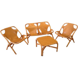 Lounge set in leatherette and rattan - 1970s