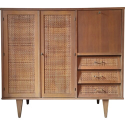 French cabinet in oak and rattan - 1960s