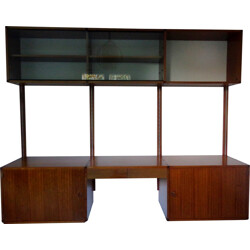 Minvielle wall system and desk in teak, A.R.P. (GUARICHE, MOTTE, MORTIER) - 1950s