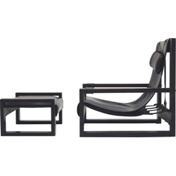 Set of brutalist lounge chair and ottoman, Sonja WASSEUR - 1970s