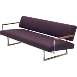 "Dutch Gelderland ""Lotus 25"" daybed in metal and purple fabric, Rob PARRY - 1950s"