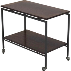 Mid-century serving trolley in rosewood and metal - 1960s