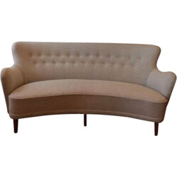 Swedish sofa in wood and beige fabric, Carl MALMSTEN - 1950s
