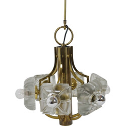 Vintage German pendant lamp in glass and brass - 1970s