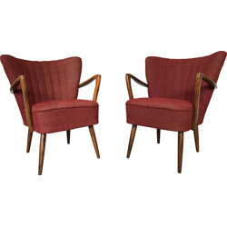 Pair of cocktails chairs in fabric - 1960s