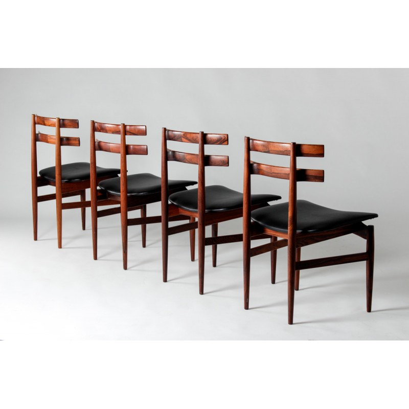 Set Of 4 Danish Rosewood Dining Chairs With Leather Poul Hundevad 1950s