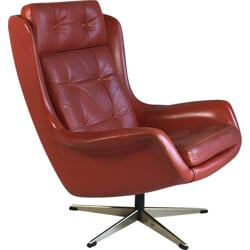 Mid century armchair in leather and chrome metal - 1970s