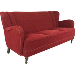 Danish 3 seater sofa with red patterned original upholstery - 1950s