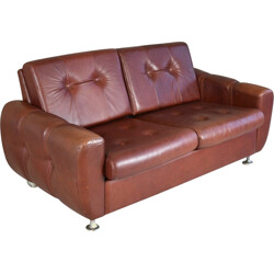 Mid century Danish 2 seater sofa in leather - 1970s