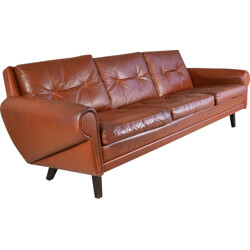 Scandinavian Skippers of Mobler 3 seater sofa in brown leather - 1970s