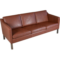 Danish 3 seater brown leather sofa - 1970s