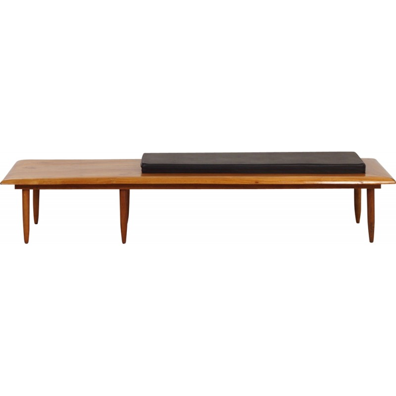 Cool Mid Century Bench In Mahogany With Its Cushion In Black Leatherette 1970S Spiritservingveterans Wood Chair Design Ideas Spiritservingveteransorg