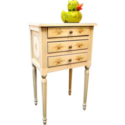 Mid century bedside table with floral patterns - 1960s