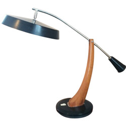 "Fase Spain ""President"" desk lamp in wood and metal - 1960s"
