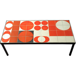 Mid century coffee table with ceramic top, Roger CAPRON - 1950s