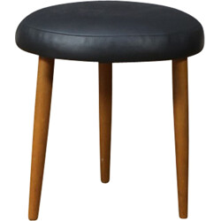 Round tripod foot stool in teak and black leatherette - 1960s