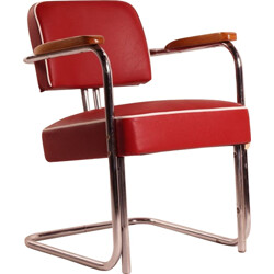 Bauhaus tubular armchair in chromed iron and red leatherette - 1930s