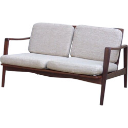 Sofa in rosewood and fabric, Arne Wahl IVERSEN - 1970s
