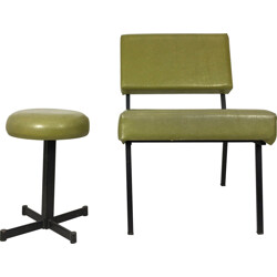 Low chair and its stool in metal and green leatherette - 1960