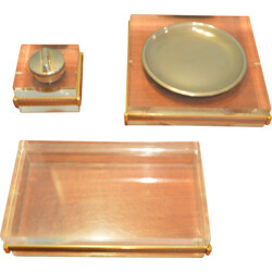 Set of ashtray and lighter in brass and plexiglass - 1970
