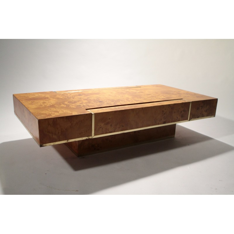 Coffee Table Roche Bobois In Brass, Jean-Claude Mahey - 1970S