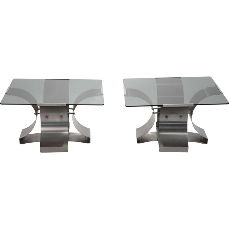 Pair of low tables in glass and chromed metal, François MONNET - 1970s