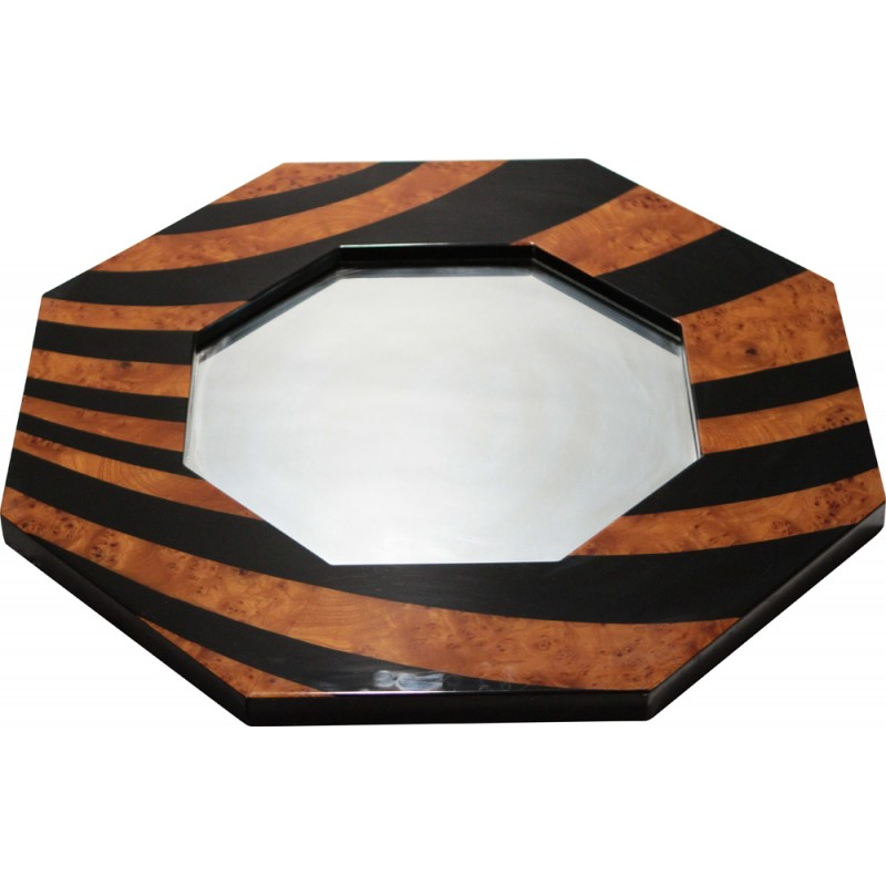 Mirror Romeo lacquered and magnifying glass of elm, Jean-Claude MAHEY - 1970s