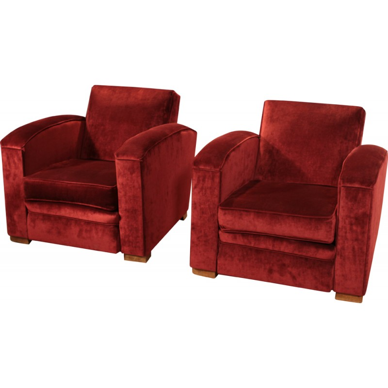 Pair Of Armchairs In Red Velvet, Jacques ADNET   1940s