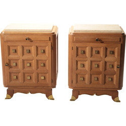 Pair of bedside tables in oak and brass - 1940s