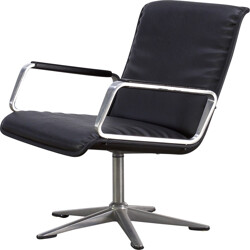 """Wilkhahn """"Delta"""" office chair in aluminum and black leatherette - 1970s"""