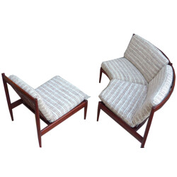 Set of Scandinavian 2 seater sofa and armchair - 1960s