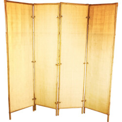Mid century screen in rattan and bamboo - 1960s