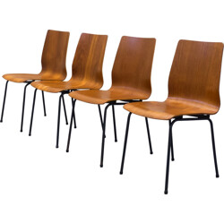 """Set of 4 """"Euroika"""" chairs in teak plywood and steel, Friso KRAMER - 1960s"""