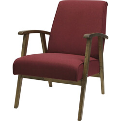 Reupholstered armchair in oak and red fabric - 1960s