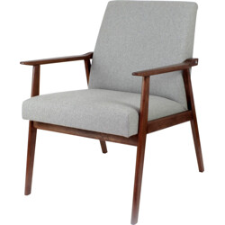 Grey armchair in oak and wool fabric - 1960s