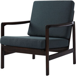 Reupholstered armchair in dark oak and indigo blue fabric - 1970s