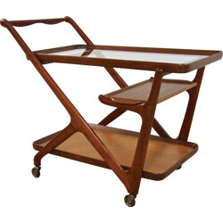 Italian Cassina serving trolley in walnut and glass, Cesare LACCA - 1950s