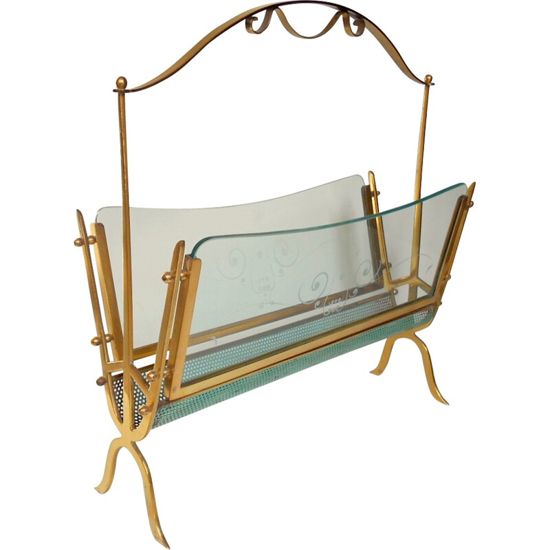 Mid century Italian magazine rack in brass and glass, Cesare LACCA - 1940s