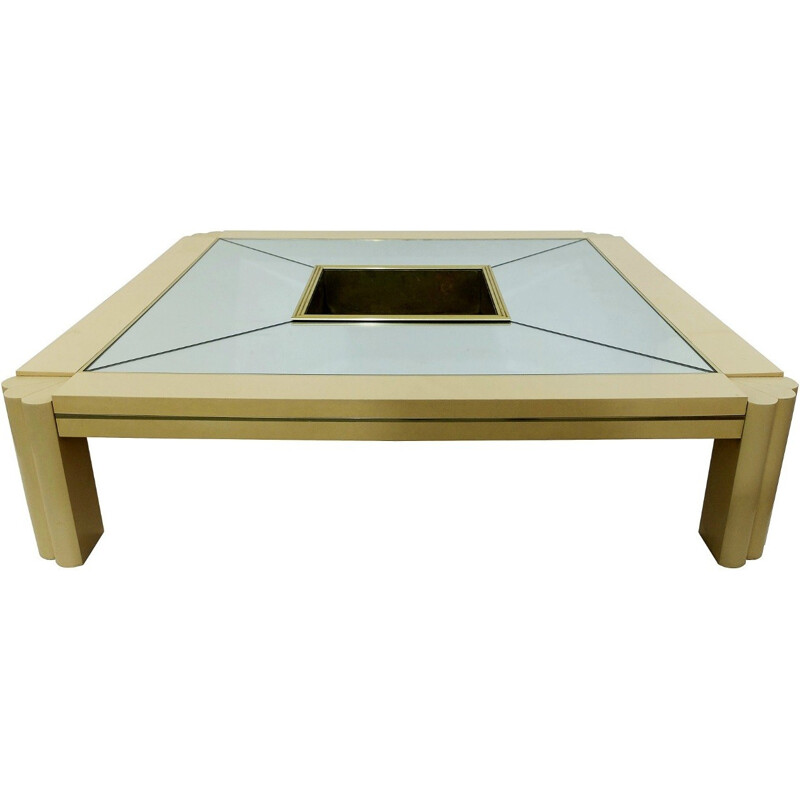 Maison Jansen coffee table in wood and brass, Alain DELON - 1970s