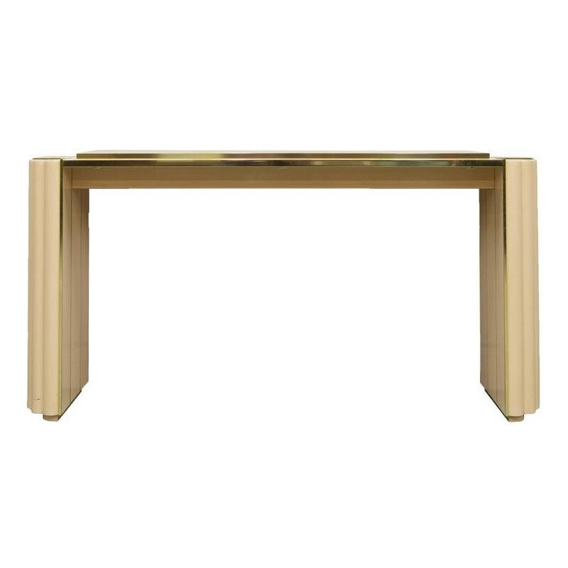 French Maison Jansen console table in beige lacquered wood, Alain DELON - 1970s