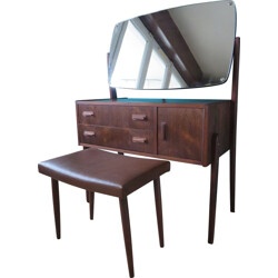 Dresser and its stool in rosewood and leather - 1960s