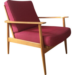 Scandinavian armchair in blond wood and red fabric - 1960s