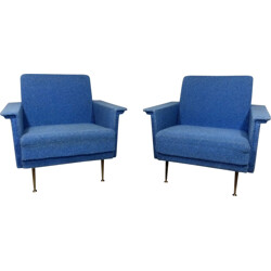 Pair of blue armchairs in fabric and wood - 1950s