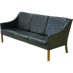Vintage Fredericia 3-seater sofa in leather, Børge MOGENSEN - 1960s