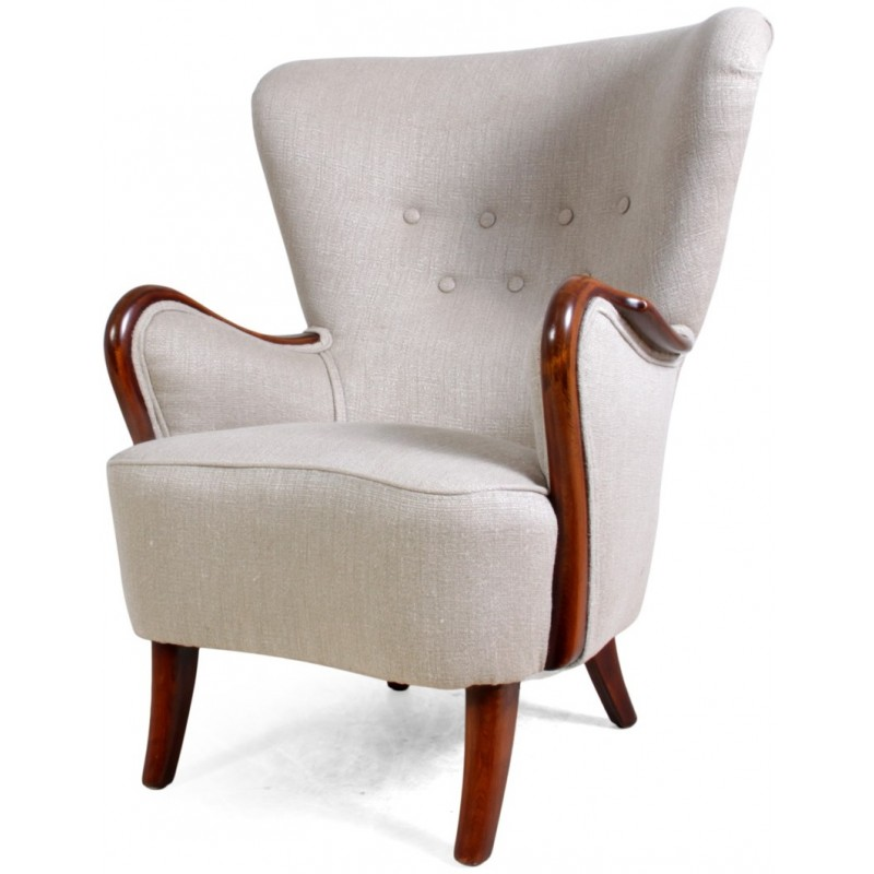 Danish Armchair In Beech And Cream Fabric   1940s